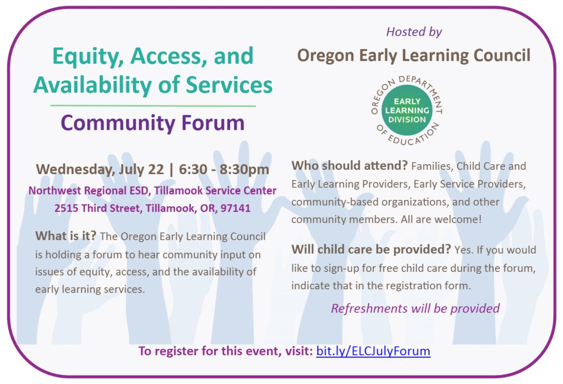Early Learning Council Hosts Community Forum in Tillamook