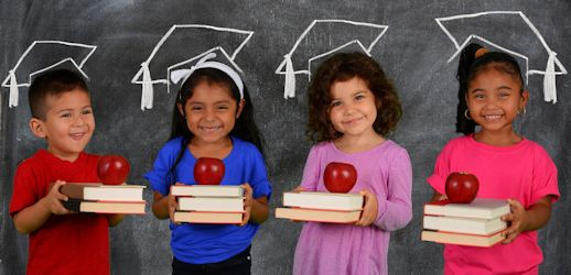 fours kids holding books and an apple fruit each