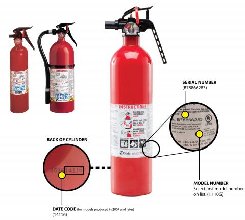Kidde plastic handle fire extinguishers; Back of cylinder showing Date Code (for models produced in 2017 and later); Model number (select first model number on list and Serial Number (like B78866283)